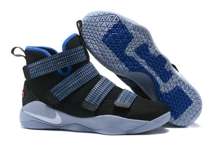 more photos 65deb c5c3d Nike LeBron Soldier 11 Steel Black Red Blue Basketball Shoe For Sale