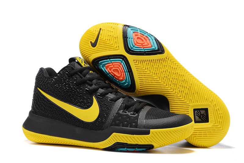 Hot Kyrie 3 Black Yellow Shoe