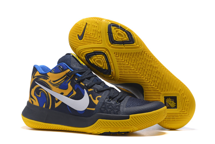 best service 0d8c5 9b7f0 2017 Nike Kyrie Irving 3 III Mens Dark Blue Yellow Shoe
