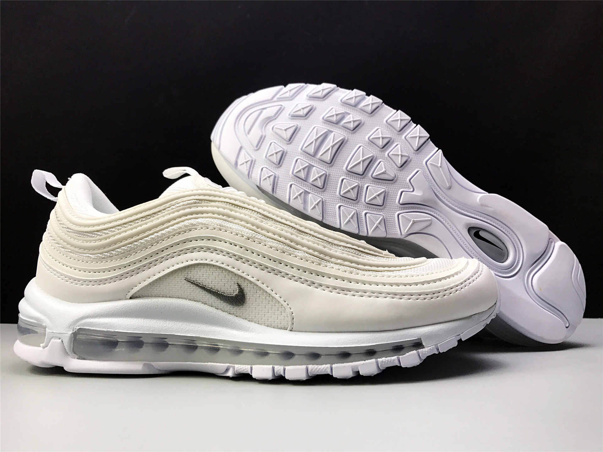 2bf796446fd 2018 Nike Air Max 97 Triple White White Wolf Grey Black Running Shoe For  Sale