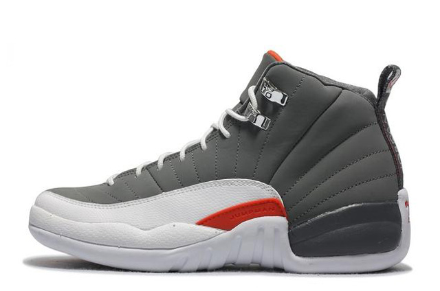 Cheap Air Jordan 12 Retro Cool Grey White-Team Orange For Sale