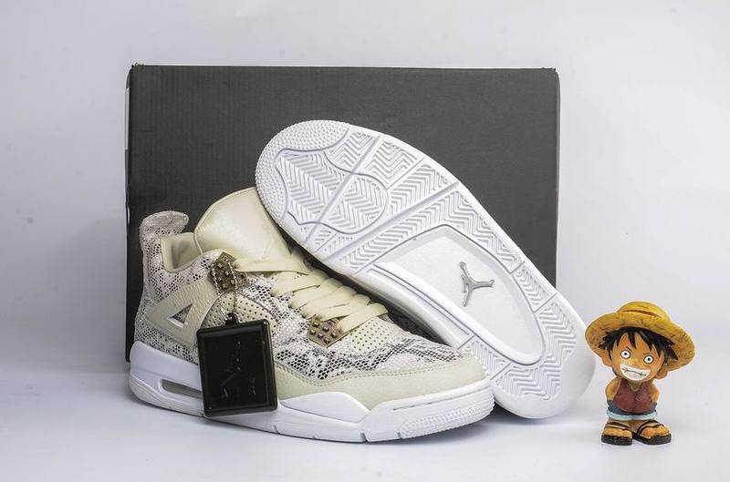 2016 Air Jordan 4 PRM Snakeskin Light Bone White-Pure Platinum-Wolf Grey