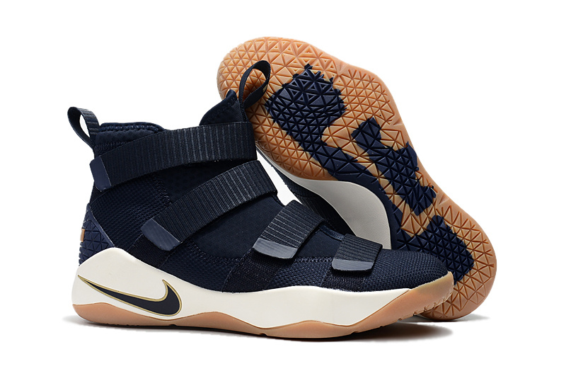 Fashion Sneakers Nike LeBron Soldier 11 Navy Blue Basketball Shoe For Sale