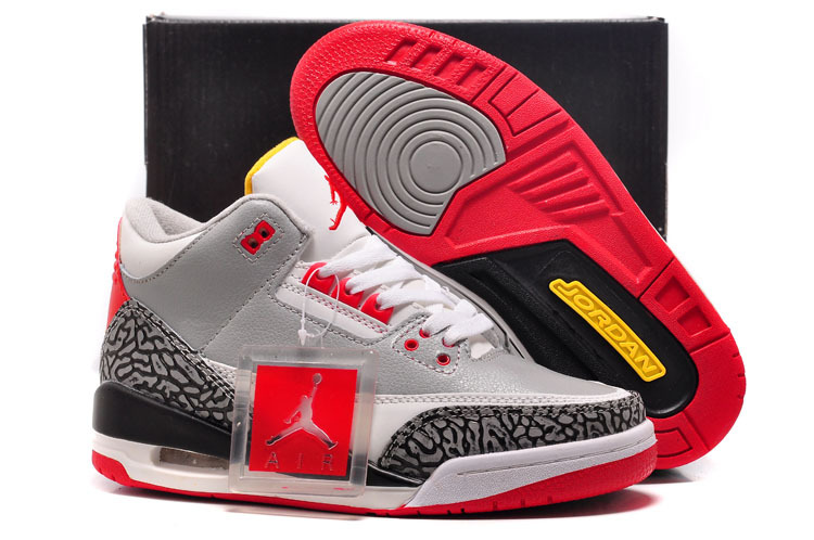 sports shoes f788b eb9b9 For Sale Air Jordan 3 GS Retro Wolf Grey-Sport Red Black Cement-White For  Womens