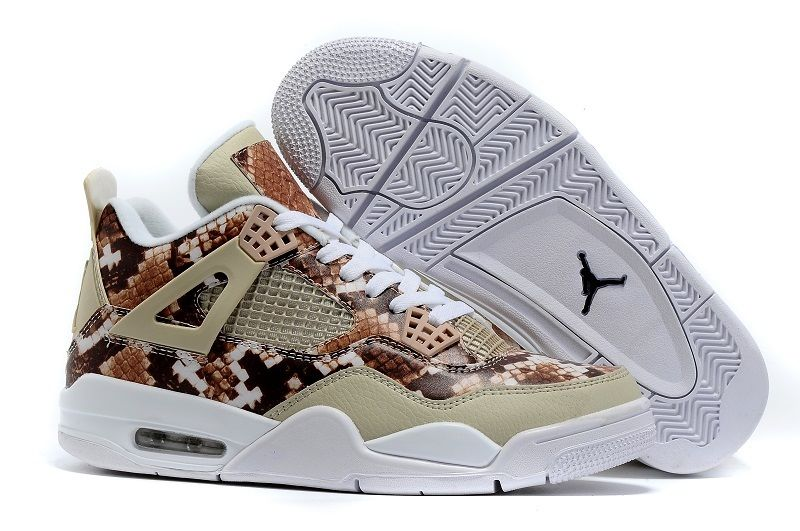 2016 Air Jordan 4 Snakeskin White Grey Brown Cheap Sale