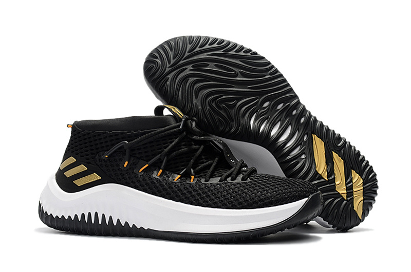 a598be78922a adidas Dame 4 D Lillard Black Gold Basketball Shoe For Sale