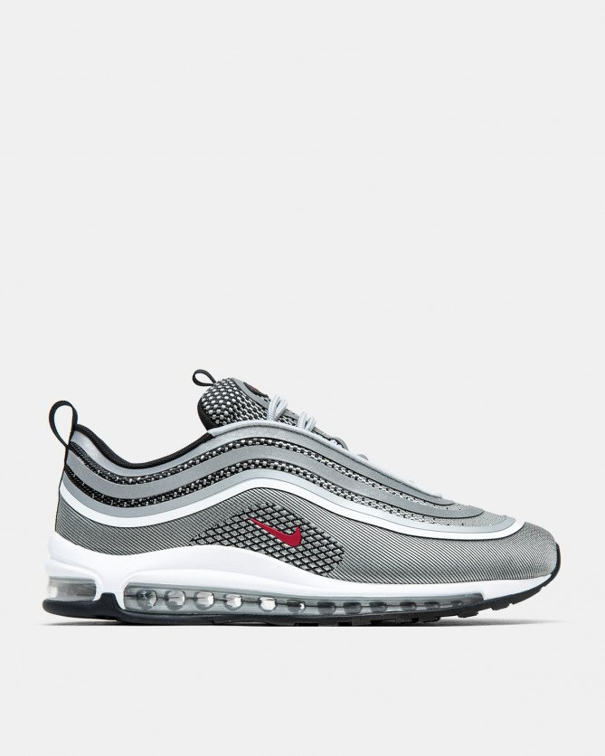 2018 Nike Air Max 97 Ultra 17 Silver Black White Varsity Red Running Shoe For Sale