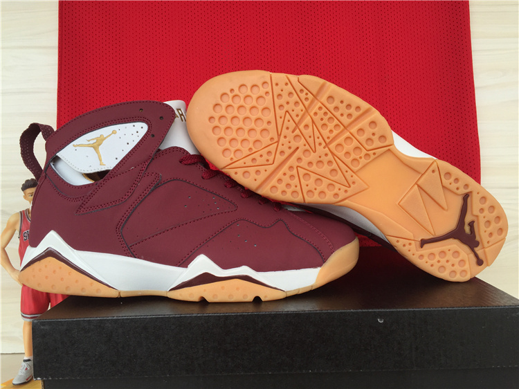 83b726095db9 2015 new jordan retro 7 vii mens shoe clearance nike shoe dark red brown white  shoe