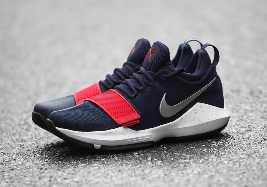 c234c0f53563 Fashion Sneakers Nike PG 1 USA Red White and Blue Basketball Shoe For Sale